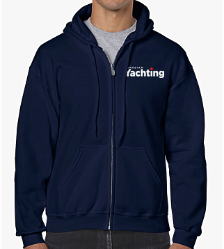 Navy hooded full zip sweater