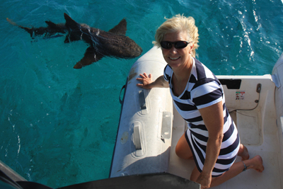 Jenn in the Dinghy with Nurse Shark