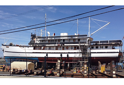 Wooden Yacht Marabell In For Repairs