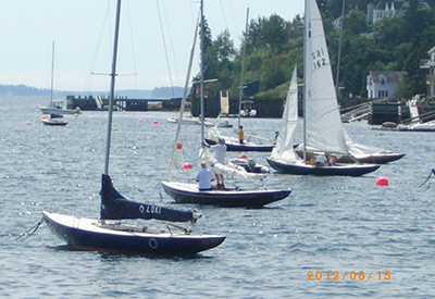 Chester Yacht Club bluenotes preparing to race, 2012