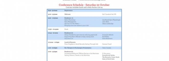 SAILING CONFERENCE SET FOR OCTOBER 22ND