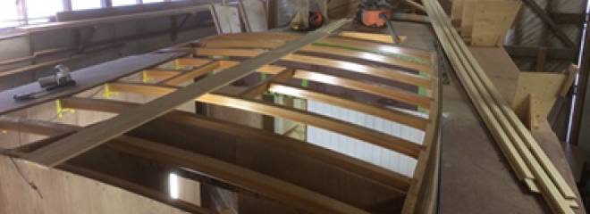 Bruce Thompson of Tern Boatworks sent an update on the build of the custom Laurie McGowan designed 48ft motorsailer